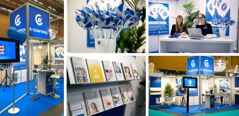 Bildercollage: E-Control Messestand